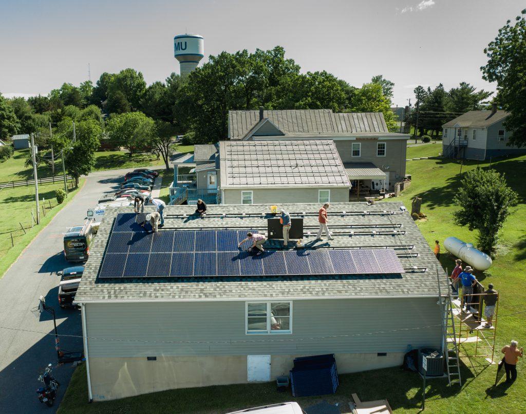 Drone shot of solar panels.